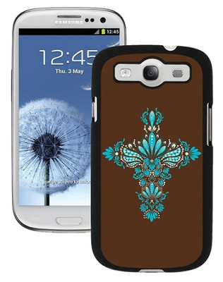 Cross Samsung Galaxy 3 Case, Brown and Blue  -
