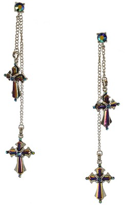 Silvertone Aurora Borealis Cross Drop Earrings   -