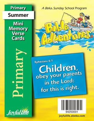 Bible Adventures Primary (Grades 1-2) Mini Memory  Verse Cards  -