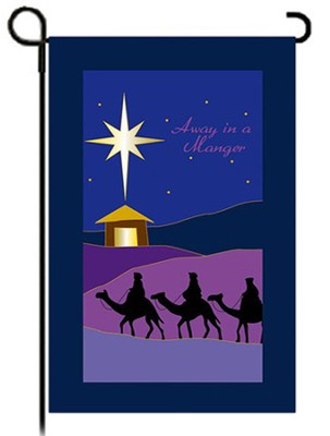 Away in a Manger Fiber Optic Flag, Small  -