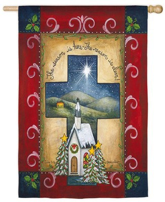 Christmas Cross Flag, Large  -     By: Annie LaPOinte