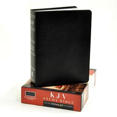 KJV Study Bible, Black Genuine Leather - Imperfectly Imprinted Bibles  -