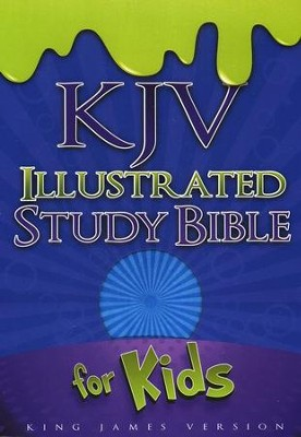 KJV Illustrated Study Bible for Kids, Blue Simulated Leather - Imperfectly Imprinted Bibles  -