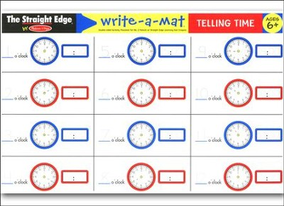 Melissa & Doug Telling Time Write-a-Mat    -