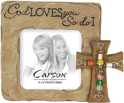 God Loves You Photo Frame with Beaded Cross  -