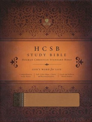 HCSB Study Bible, Brown/Tan Simulated Leather, Thumb-Indexed  - Slightly Imperfect  -