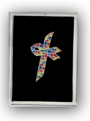 Autism Awareness Cross Pin  -