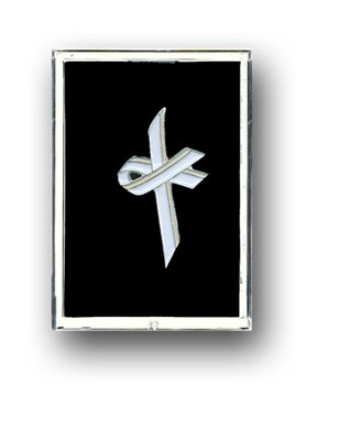 Awareness Cross Pin, White  -