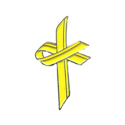 Awareness Cross Pin, Yellow  -