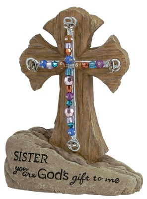Sister Pedestal Beaded Cross  -