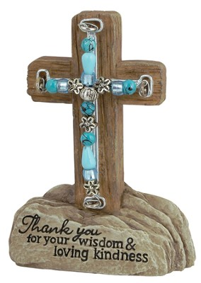 Thank You Beaded Pedestal Cross  -