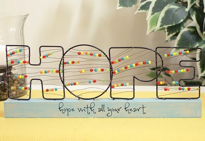 Hope, Bead and Wire Tabletop Plaque  -