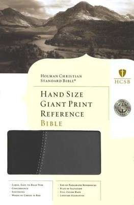 HCSB Hand Size Giant Print Reference Bible, Black & Gray Simulated Leather  -