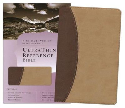 KJV UltraThin Reference Bible, Brown & Tan Simulated Leather  -