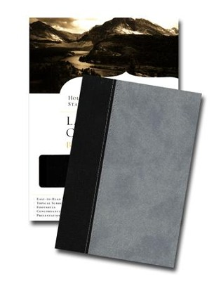 HCSB Large Print Compact Bible, Black & Gray Simulated Leather  -