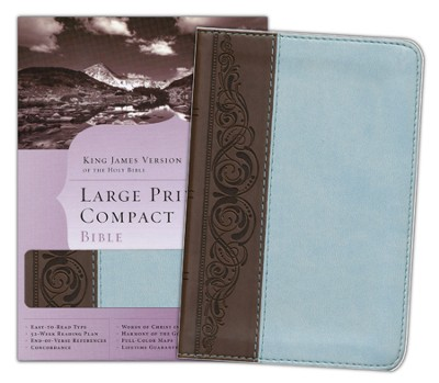 KJV Large Print Compact Bible, Brown & Blue Simulated Leather  -