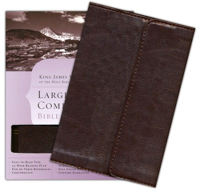 KJV Large-Print Compact Bible--imitation leather, brown with magnetic flap closure  -
