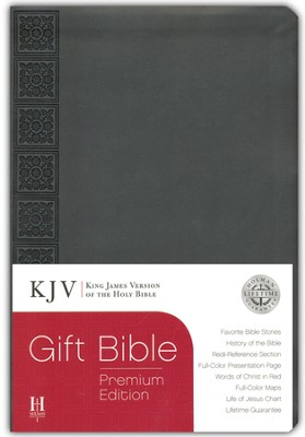 KJV Gift Bible, Premium Edition, Gray Simulated Leather  -