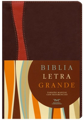 Biblia RVC Letra Gde. Tam. Manual, Piel Sim. Chocolate/Cobrizo I.    (RVC Hand Size GtPt Bible, Brown/Rust Sim. Leather I.)  -