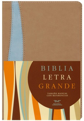Biblia RVC Letra Gde. Tam. Manual, Piel Sim. Tostado/Azul  (RVC Hand Size Giant Print Bible, Tan/Blue Sim. Leather)  -