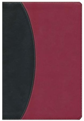 KJV Super Giant Print Reference Bible, Black & Burgundy Simulated Leather  -