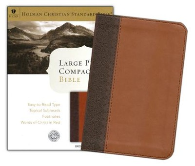 HCSB Large Print Compact Bible, Brown & Tan Simulated Leather  -