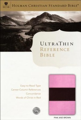 HCSB UltraThin Reference Bible, Pink & Brown Simulated Leather  -