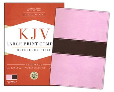 KJV Large Print Compact Bible, Pink & Brown Simulated Leather  -