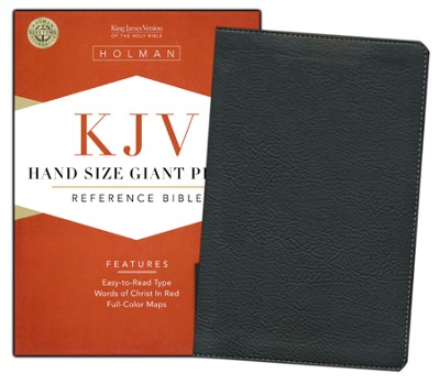 KJV Hand Size Giant Print Reference Bible, Black Mantova imitation leather, indexed  -