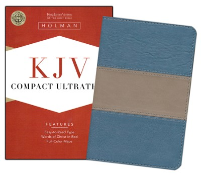 KJV Compact UltraThin Bible, Blue/taupe imitation leather  -