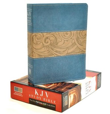 KJV Study Bible, Blue/taupe imitation leather  -