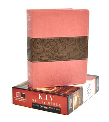 KJV Study Bible, Pink/brown soft leather-look  -
