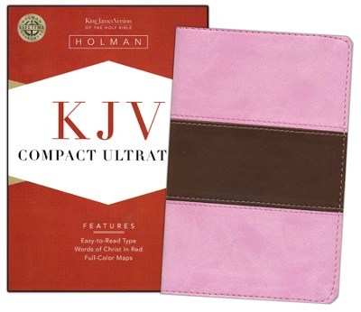 KJV Compact UltraThin Bible, Pink/brown soft leather-look  -