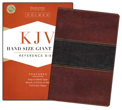 KJV Hand Size Giant Print Reference Bible, Mahogany imitation leather  -