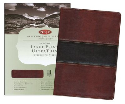 NKJV Large Print UltraThin Reference Bible, Mahogany imitation leather, indexed  -