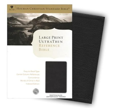 HCSB Large Print UltraThin Reference Bible, Black imitation leather, indexed  -