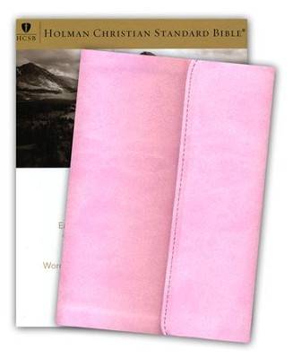 HCSB Large-Print Compact Bible--soft leather-look, pink with magnetic flap  -