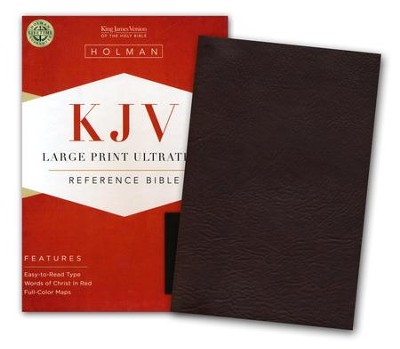 KJV Large Print UltraThin Reference Bible--soft leather-look, chocolate brown  -