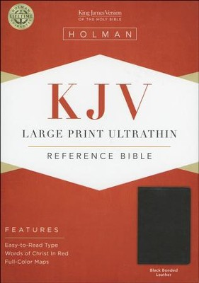 KJV Large Print UltraThin Reference Bible--bonded leather, black  -