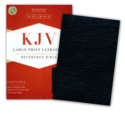 KJV Large Print UltraThin Reference Bible--genuine leather, black (indexed)  -