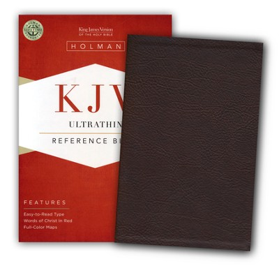 KJV UltraThin Reference Bible--soft leather-look, brown  -