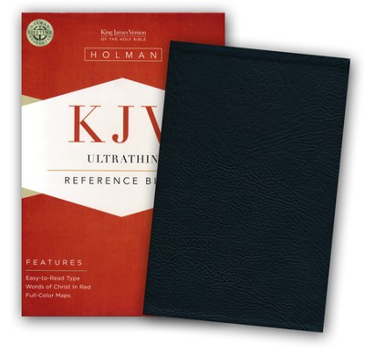 KJV UltraThin Reference Bible--soft leather-look, black  -