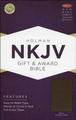 NKJV Gift and Award Bible, Brown Imitation Leather  -