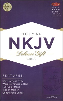 NKJV Deluxe Gift Bible, Purple LeatherTouch  -