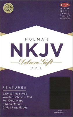 NKJV Deluxe Gift Bible, Black LeatherTouch  -