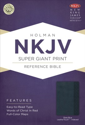NKJV Super Giant Print Reference Bible, Slate Blue Imitation Leather, Thumb-indexed  -