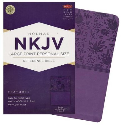 NKJV Large Print Personal Size Reference Bible, Purple LeatherTouch, Thumb-Indexed  -