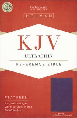 KJV UltraThin Reference Bible, Eggplant LeatherTouch, Thumb-Indexed  -