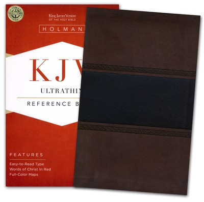 KJV UltraThin Reference Bible, Brown and Chocolate LeatherTouch  -