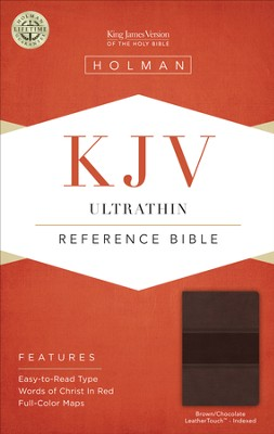 KJV UltraThin Reference Bible, Brown and Chocolate LeatherTouch, Thumb-Indexed  -
